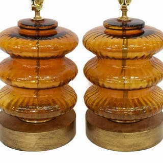 (2) DECORATIVE TIERED AMBER GLASS TABLE LAMPS