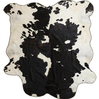 """LARGE TANNED BROWN & WHITE COW HIDE, 98""""L X 86""""W"""