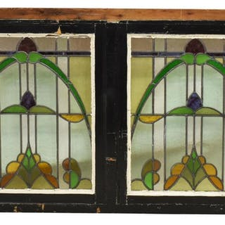 FRAMED ART NOUVEAU DOUBLE STAINED GLASS WINDOW
