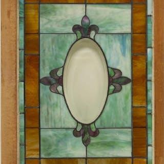 FRAMED STAINED & LEADED SLAG GLASS WINDOW