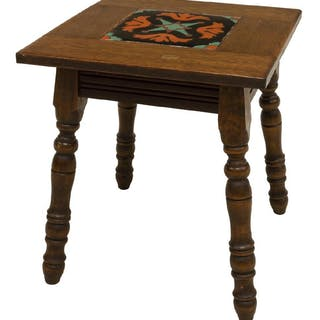 CALIFORNIA MISSION STYLE TILE TOP OAK SIDE TABLE