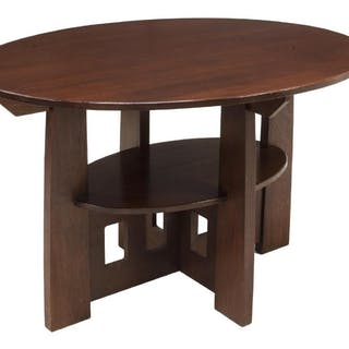 CRAFTSMAN STYLE OAK LIBRARY TABLE AFTER LIMBERT