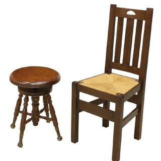 (2) CRAFTSMAN STYLE OAK CHAIR & VICTORIAN STOOL