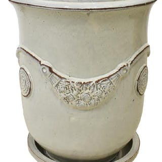 LARGE ANDUZE CREAM-TONE GLAZED TERRACOTTA POT