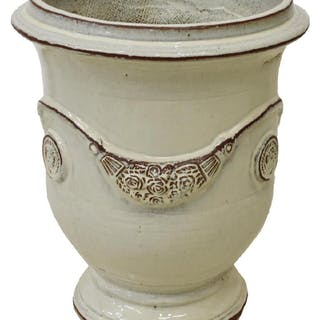 ANDUZE CREAM-TONE GLAZED TERRACOTTA POT