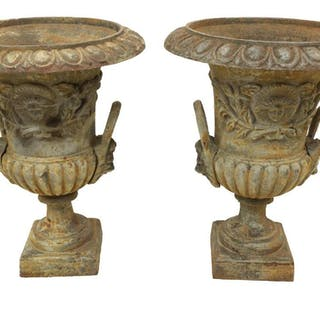 "(2) CAMPAGNA FORM CAST IRON PLANTERS, 24""H"