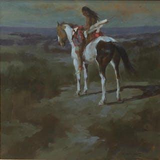 DAN McCAW (B.1942) INDIAN ON HORSEBACK PAINTING