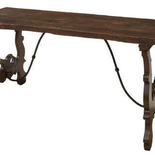 SPANISH BAROQUE STYLE REFECTORY TABLE, 19TH C.