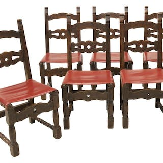 (6) SPANISH WALNUT UPHOLSTERED DINING CHAIRS