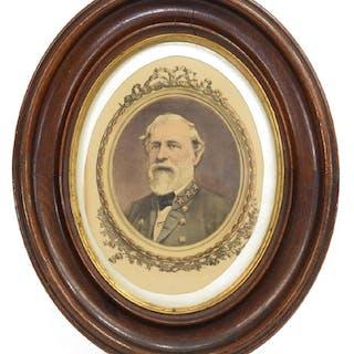FRAMED COLOR PRINT ROBERT E. LEE IN UNIFORM