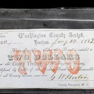 TEXAS CIVIL WAR WASHINGTON COUNTY SCRIPT, 1862