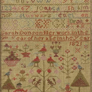 1821 NEEDLEWORK SAMPLER BY SARAH DONSON, AGE 9