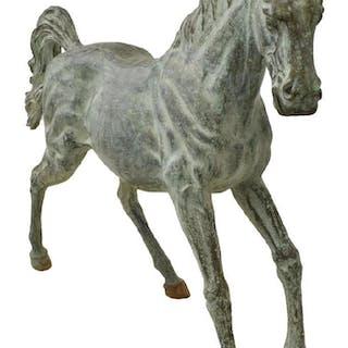 "NEAR LIFE SIZE VERDIGRIS BRONZE HORSE, 62""L"