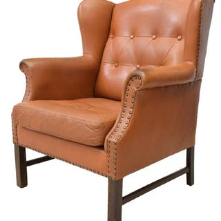 BUTTON-TUFTED LEATHER WINGBACK ARMCHAIR
