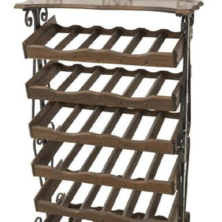 VINTAGE IRON & WOOD WINE BOTTLE RACK, 20TH C.
