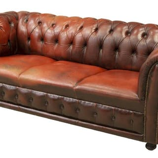 CHESTERFIELD OXBLOOD LEATHER THREE-SEAT SOFA