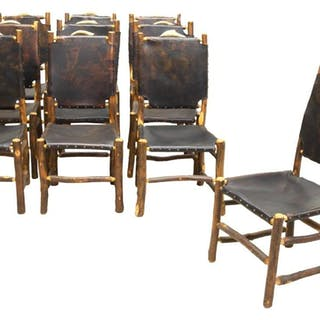 (10) RUSTIC ANTLER CREST LEATHER CHAIRS