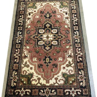 "HAND-TIED GHRAJEH DESIGN RUG, INDIA, 5'0"" x 3'0"""