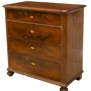 CONTINENTAL MAHOGANY FOUR-DRAWER COMMODE