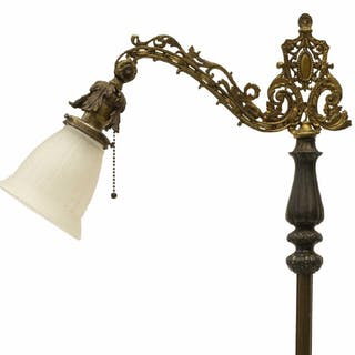 VINTAGE PATINATED BRASS & IRON FLOOR LAMP