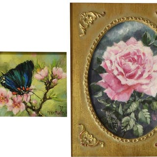 (2) HELEN HUNTER (1920-2003) ROSE & BUTTERFLY