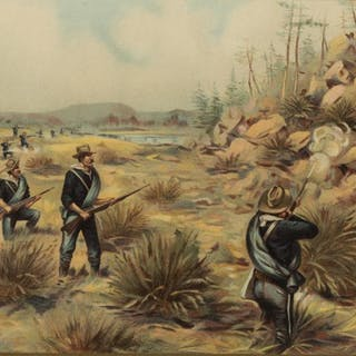 U.S. ARMY INFANTRY, INDIAN ATTACK SNAKE RIVER 1880