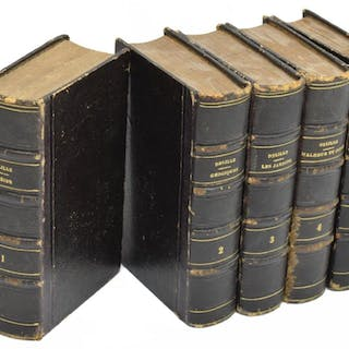 (5) FRENCH LEATHER LIBRARY BOOKS, JACQUES D'LILLE