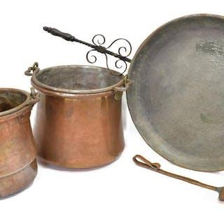 (4) COPPER KITCHENWARE, ALLA MONDA HANDLED PAN