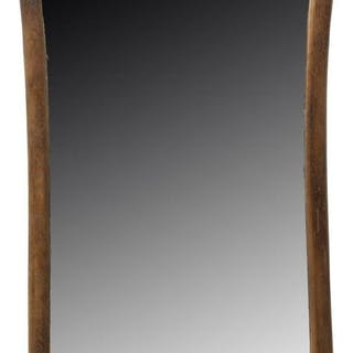 "OAK FRAMED BEVELED WALL MIRROR, 40""H"