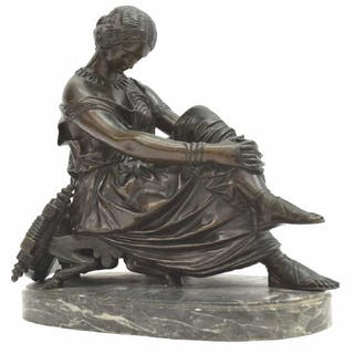 JAMES PRADIER (D.1852) PATINATED BRONZE SAPPHO