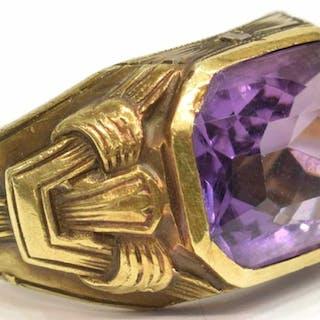 ANTIQUE ESTATE GENTS 14KT GOLD & AMEHTYST RING