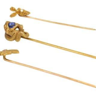 (3) ANTIQUE ESTATE 14KT GOLD FIGURAL STICK PINS