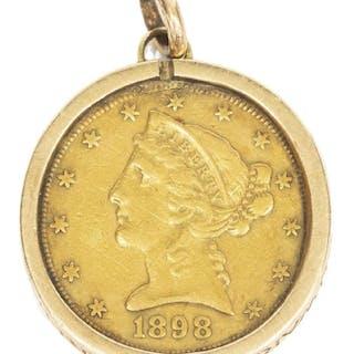 U.S. 1898 'S' LIBERTY HEAD HALF EAGLE, $5 GOLD COI