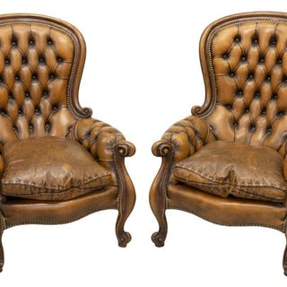 (PR) FRENCH BUTTONED LEATHER CLUB CHAIRS