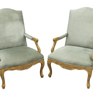 (2) LOUIS XV STYLE UPHOLSTERED FAUTEUILS ARMCHAIRS