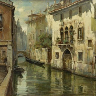 PRIMO RE (B.1930) VENETIAN CANAL OIL PAINTING
