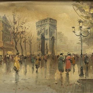 PARIS STREET SCENE PAINTING SIGNED M. AMOROSO