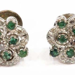 WHITE METAL DIAMOND & EMERALD EARRINGS GOLD POSTS