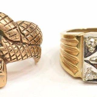 (2) GENTS ESTATE 10KT GOLD RINGS, SNAKE & DIAMOND