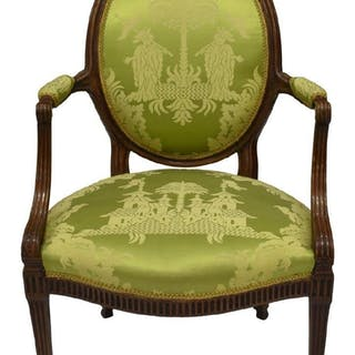 LOUIS XVI STYLE FAUTEUIL CHINOISERIE UPHOLSTERY