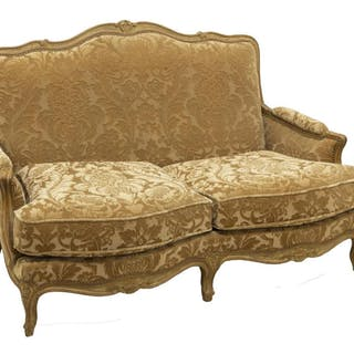 LOUIS XV STYLE UPHOLSTERED LOVESEAT SOFA