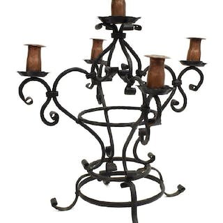 GOTHIC REVIVAL WROUGHT IRON FIVE-LIGHT CANDELABRA