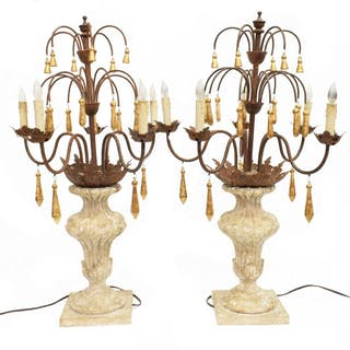 (PAIR) FIVE-LIGHT CANDELABRA TABLE LAMPS