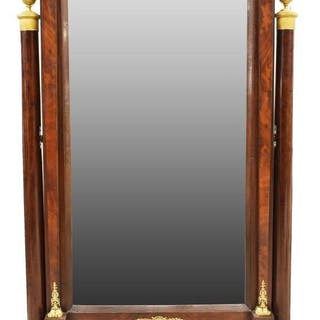 FRENCH EMPIRE STYLE BRONZE-MOUNTED CHEVAL MIRROR