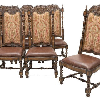 (6) MARGE CARSON SEGOVIA LEATHER & FABRIC CHAIRS