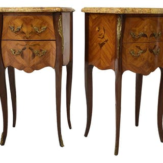 (PAIR) LOUIS XV STYLE MARQUETRY BEDSIDE CABINETS