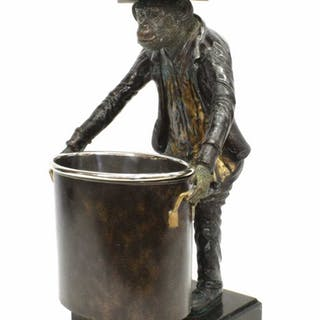 MAITLAND-SMITH BRONZE MONKEY WINE BOTTLE HOLDER