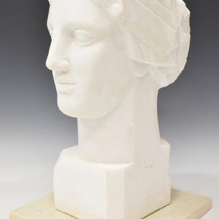 CLASSICAL STYLE CARVED MARBLE HEAD OF A MAN