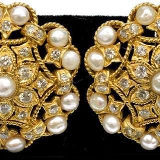 18KT YELLOW GOLD DIAMOND & PEARL OPENWORK EARRINGS