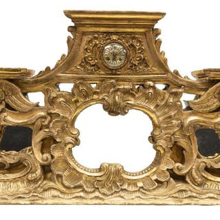 """LARGE FRENCH ROCAILLE GILT CASED CLOCK, 49""""L"""